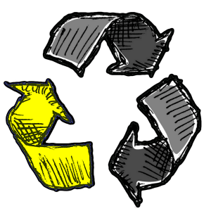 Recycle-Symbol-with-only-the-lower-right-arrow-highlighted yellow-lowest-price-guarantee-for-junk-removal-in-georgia